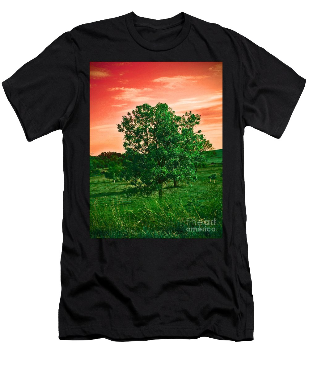 Red Sky Men's T-Shirt (Athletic Fit) featuring the photograph Vivid Blood Red Sky by Minding My Visions by Adri and Ray