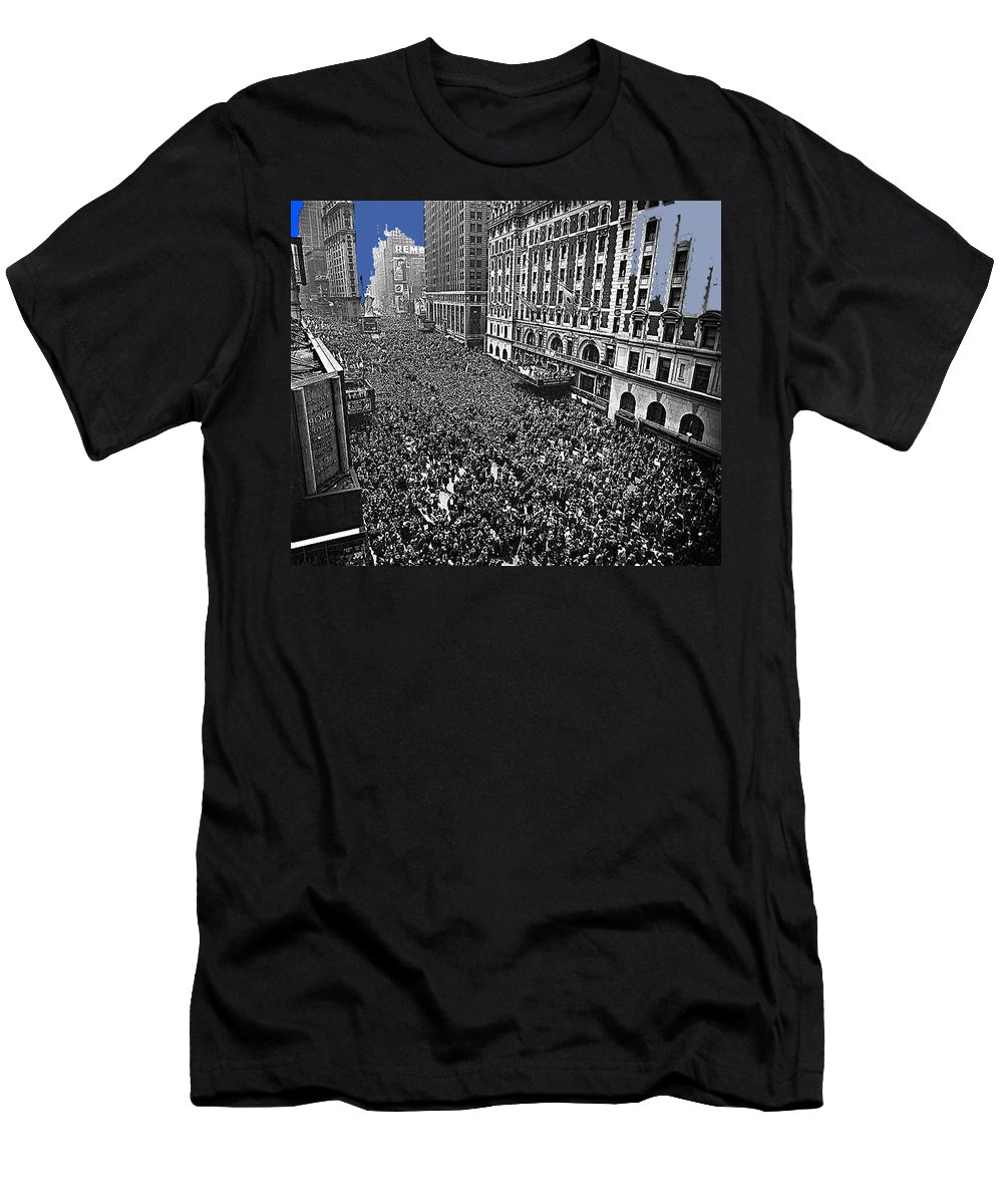 Vj Day Times Square New York City 1945 Color Added 2013 Men's T-Shirt (Athletic Fit) featuring the photograph Vj Day Times Square New York City 1945 Color Added 2013 by David Lee Guss