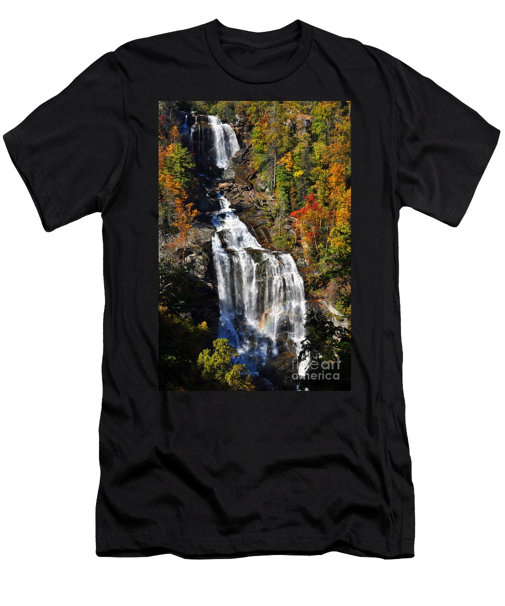 Whitewater Falls Men's T-Shirt (Athletic Fit) featuring the photograph Voice Of Many Waters by Lydia Holly
