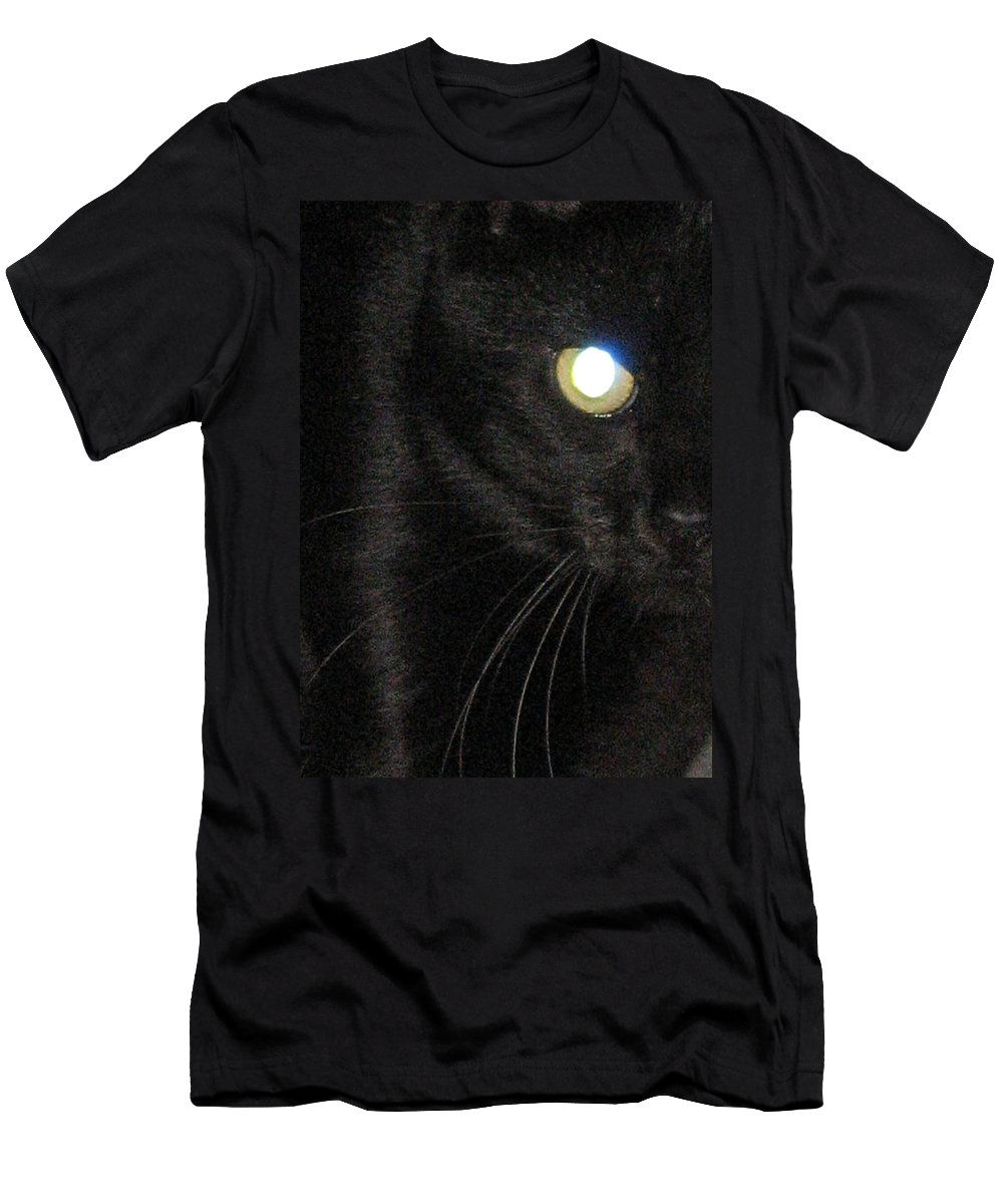 Black Cat Men's T-Shirt (Athletic Fit) featuring the photograph Voodoo On The Prowl by Dan McCafferty