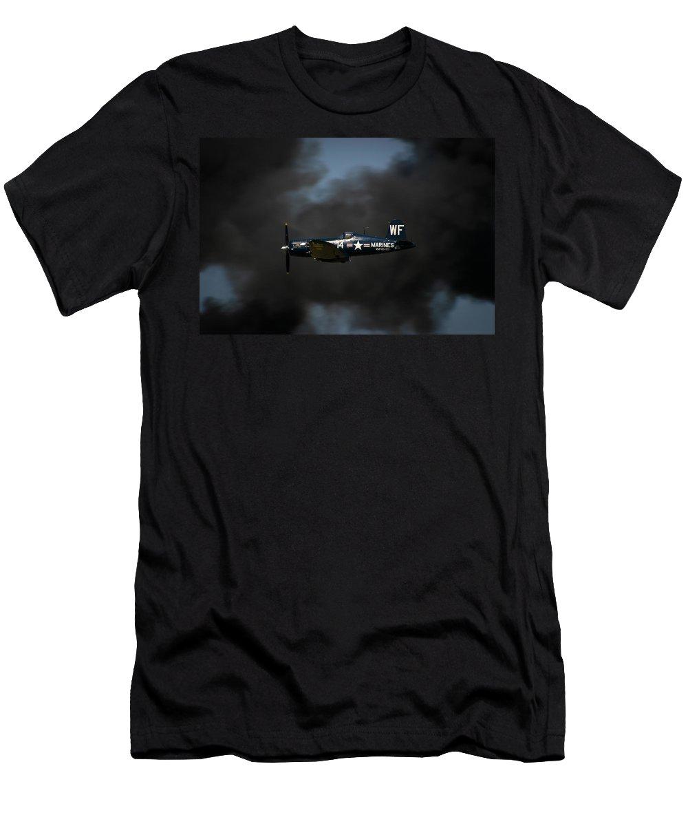 3scape Men's T-Shirt (Athletic Fit) featuring the photograph Vought F4u Corsair by Adam Romanowicz