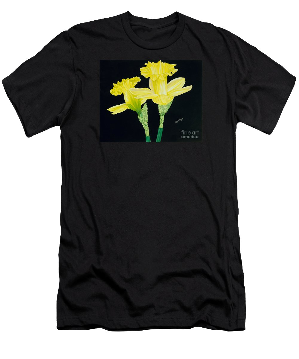 Two Yellow Daffodils On A Black Background Men's T-Shirt (Athletic Fit) featuring the painting Vy And Georgie by John Wilson