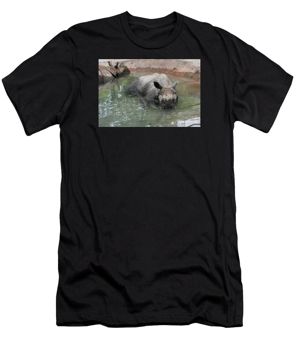 Indiana Rhinoceros Men's T-Shirt (Athletic Fit) featuring the photograph Wading Rhinos by Judy Whitton