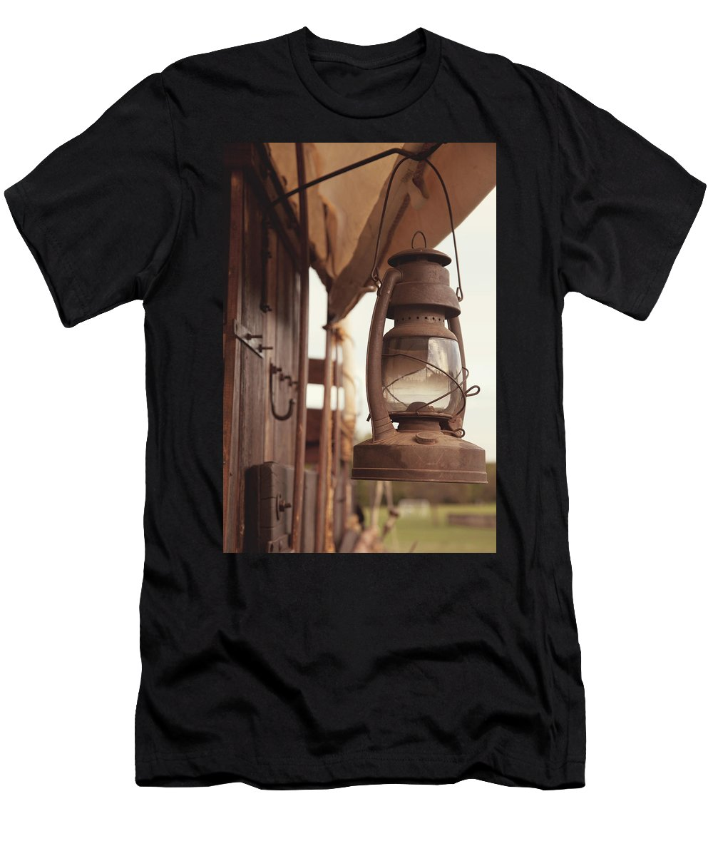Lantern Men's T-Shirt (Athletic Fit) featuring the photograph Wagon Lantern by Toni Hopper