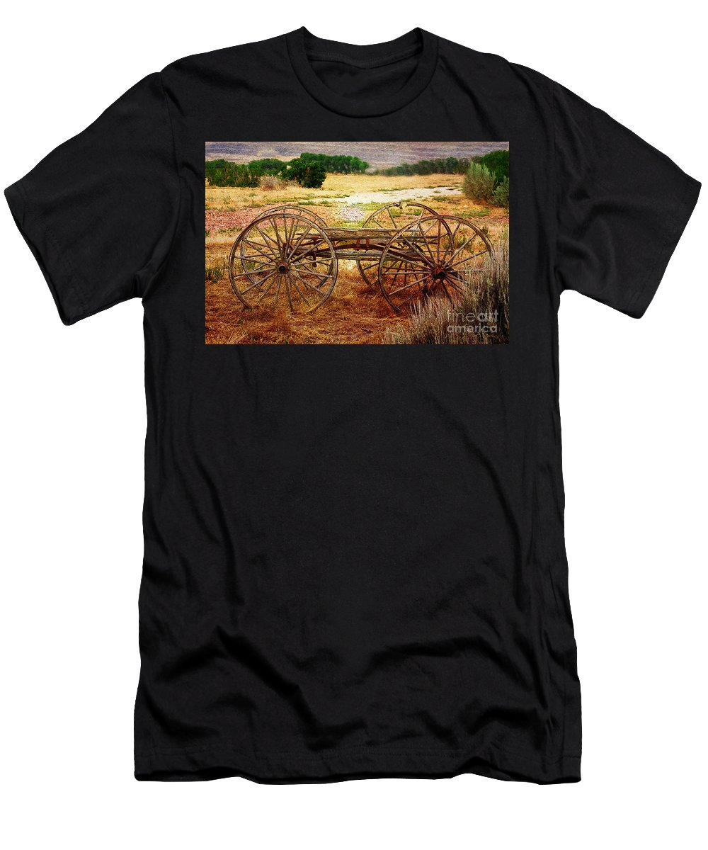 Cart Men's T-Shirt (Athletic Fit) featuring the photograph Wagon Wheels From The Past by Janice Pariza