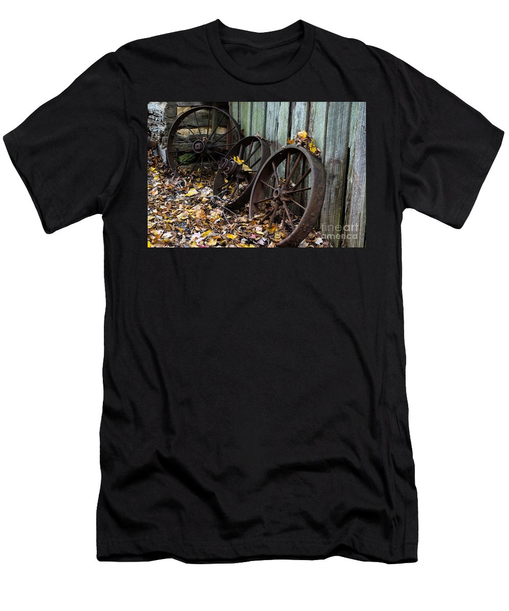 Wagon Men's T-Shirt (Athletic Fit) featuring the photograph Wagon Wheels by Scott Hervieux