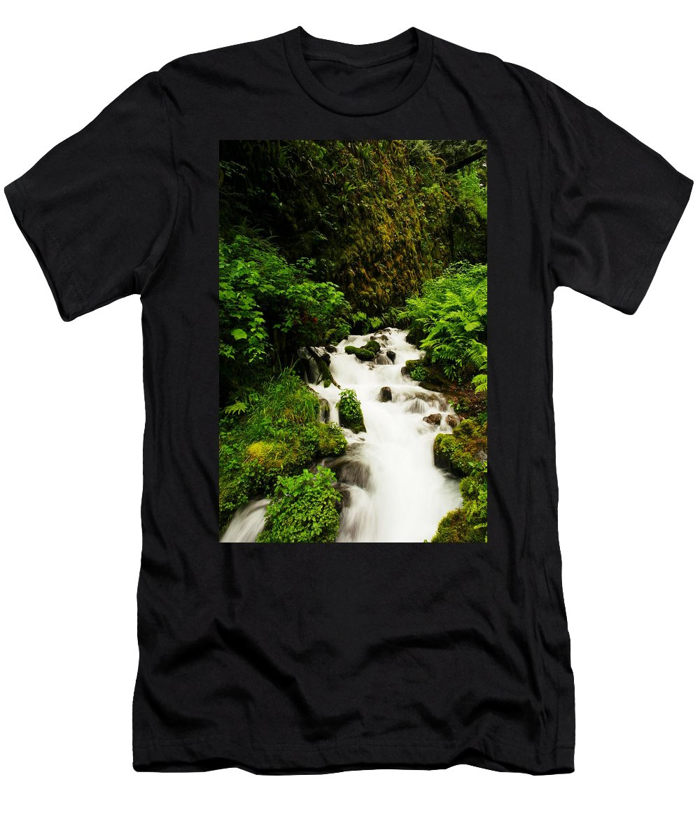 Rivers Men's T-Shirt (Athletic Fit) featuring the photograph Wahkeena Creek by Jeff Swan