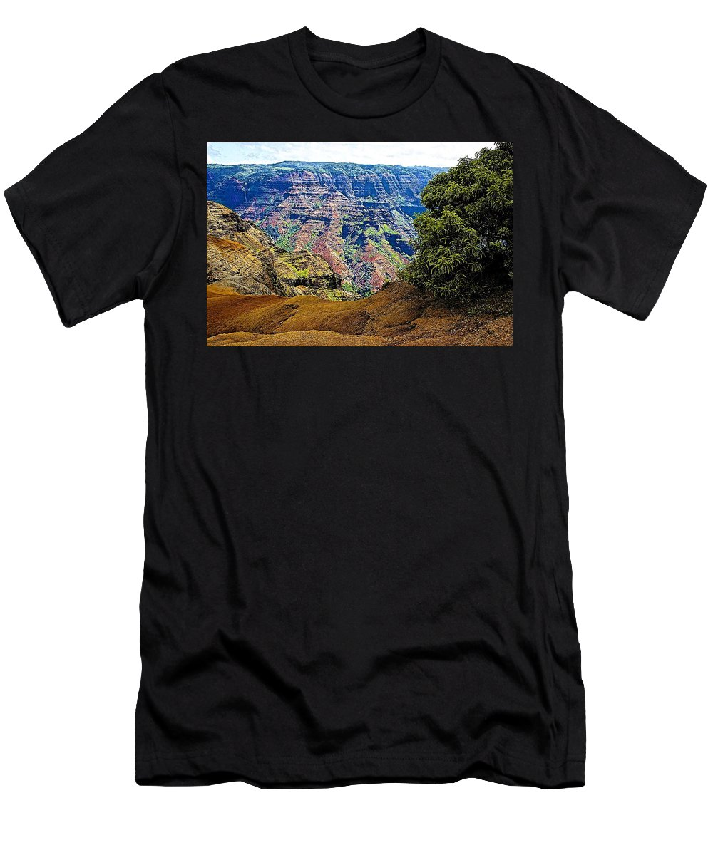 Canyon Men's T-Shirt (Athletic Fit) featuring the photograph Waimea Canyon - Kauai by Barbara Zahno