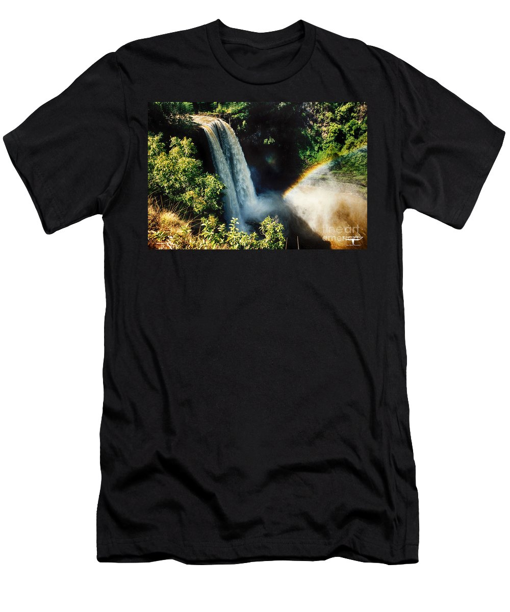 Kauai Men's T-Shirt (Athletic Fit) featuring the photograph Wailua Falls Kauai Hi 1 by Tommy Anderson
