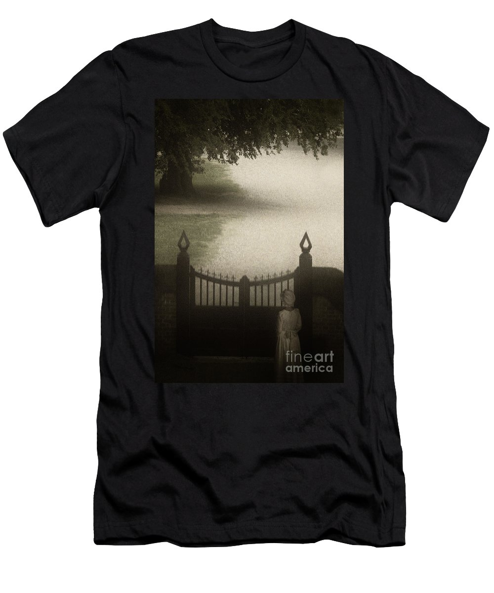 Gate; Fence; Road; Drive; Driveway; Path; Tree; Grass; Park; Closed; Shroud; Dark; Darkness; Ornate; Girl; Caucasian; Young; Female; Colonial; Gown; Dress; Hat; Bonnet; Wait; Waiting; Lost; Loss; Alone; Look; Looking; Goodbye Men's T-Shirt (Athletic Fit) featuring the photograph Waiting At The Gate by Margie Hurwich