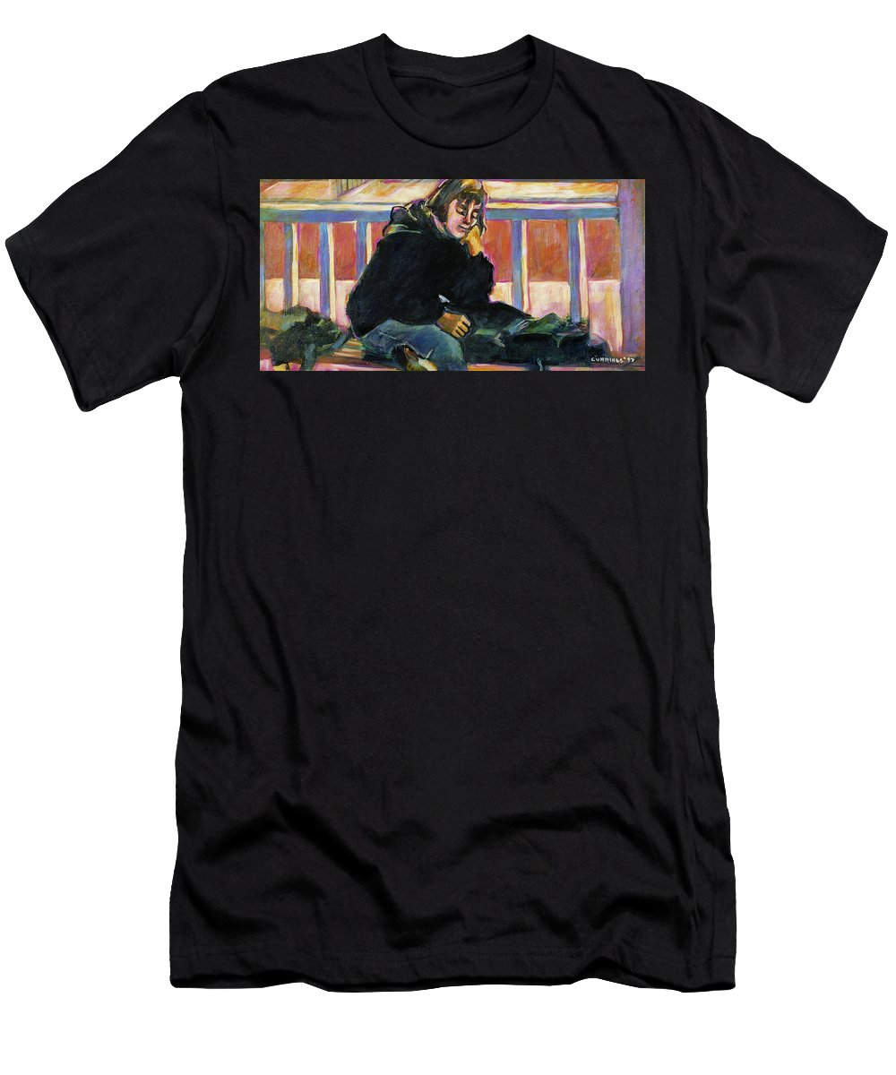 Aye Cummings Men's T-Shirt (Athletic Fit) featuring the painting Waiting by Faye Cummings