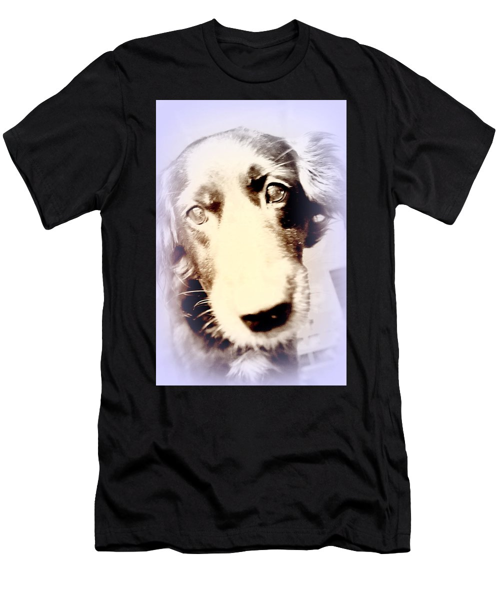 Dog Men's T-Shirt (Athletic Fit) featuring the photograph I Have No Voice So Vote For Me by Hilde Widerberg