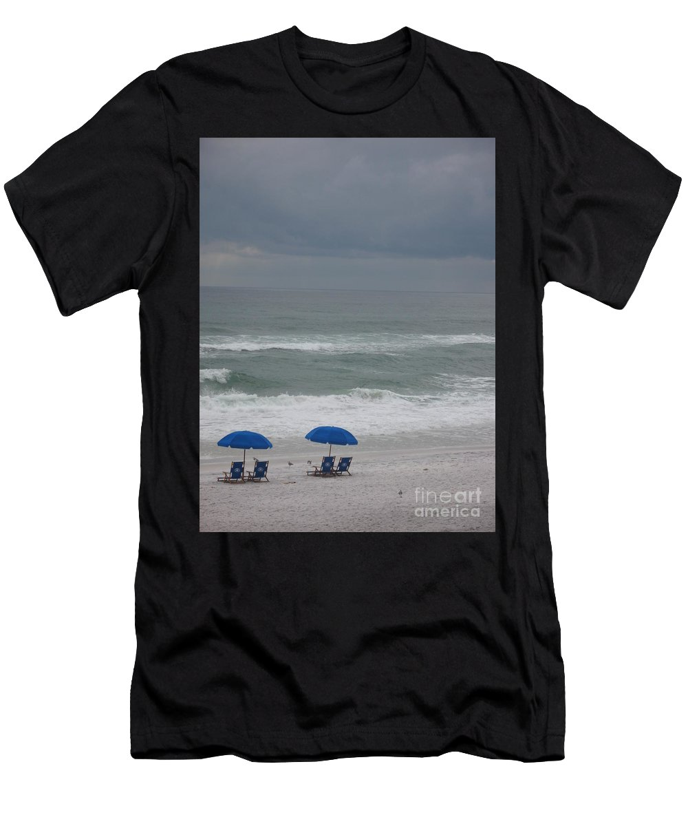 Sun Chairs Men's T-Shirt (Athletic Fit) featuring the photograph Waiting For Sunshine by Christiane Schulze Art And Photography