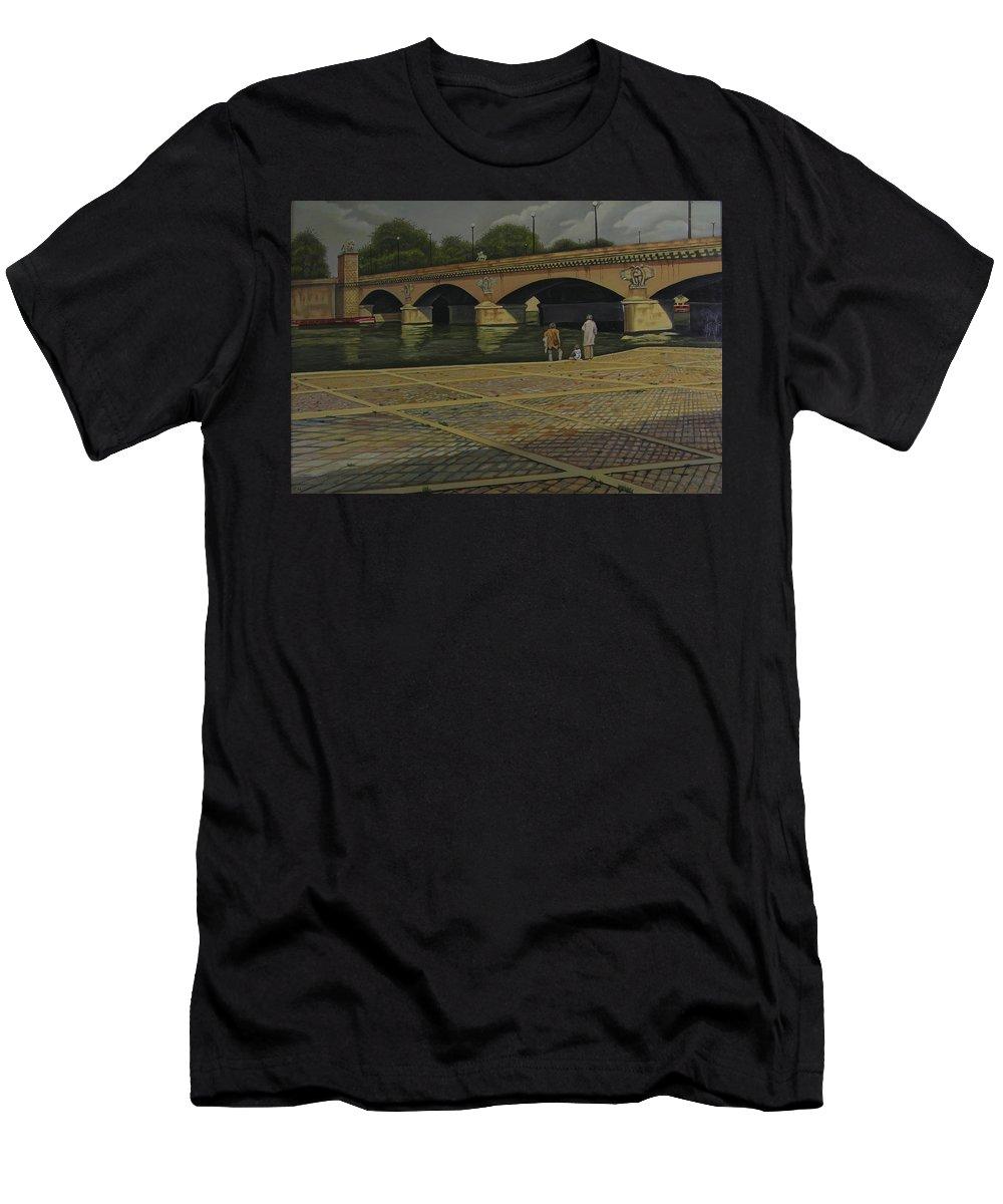 Paris Men's T-Shirt (Athletic Fit) featuring the painting Waiting Paris France by Thu Nguyen