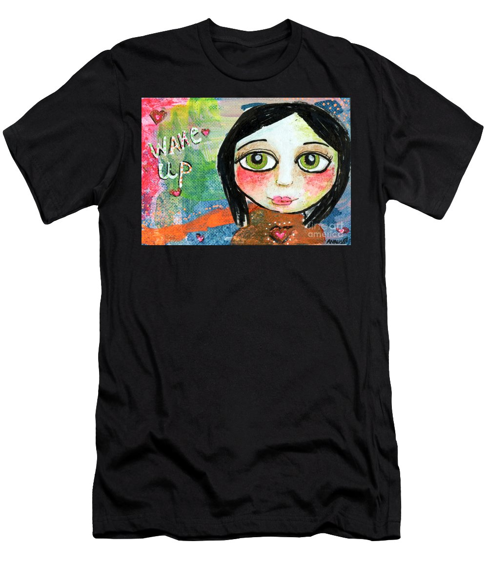 Girl Men's T-Shirt (Athletic Fit) featuring the mixed media Wake Up by AnaLisa Rutstein