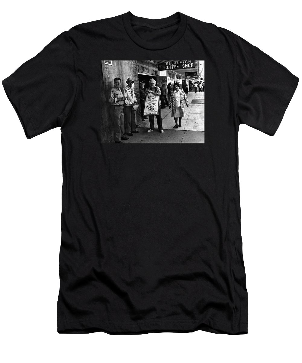 Walking Billboard Nevada Club Reno Nevada 1977 Black And White    Men's T-Shirt (Athletic Fit) featuring the photograph Walking Billboard Nevada Club Reno Nevada 1977 by David Lee Guss