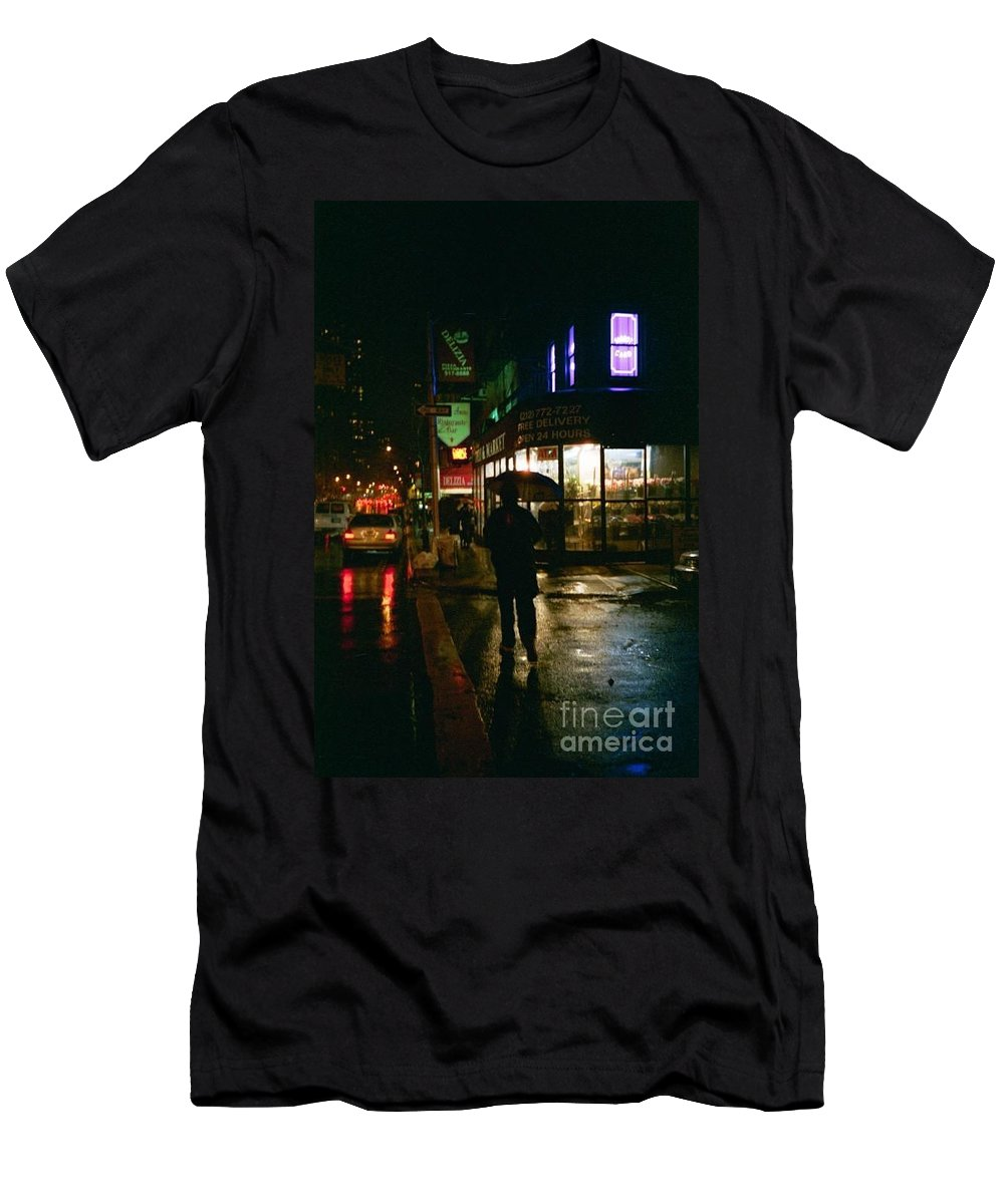 New York Men's T-Shirt (Athletic Fit) featuring the photograph Walking Home In The Rain by Miriam Danar