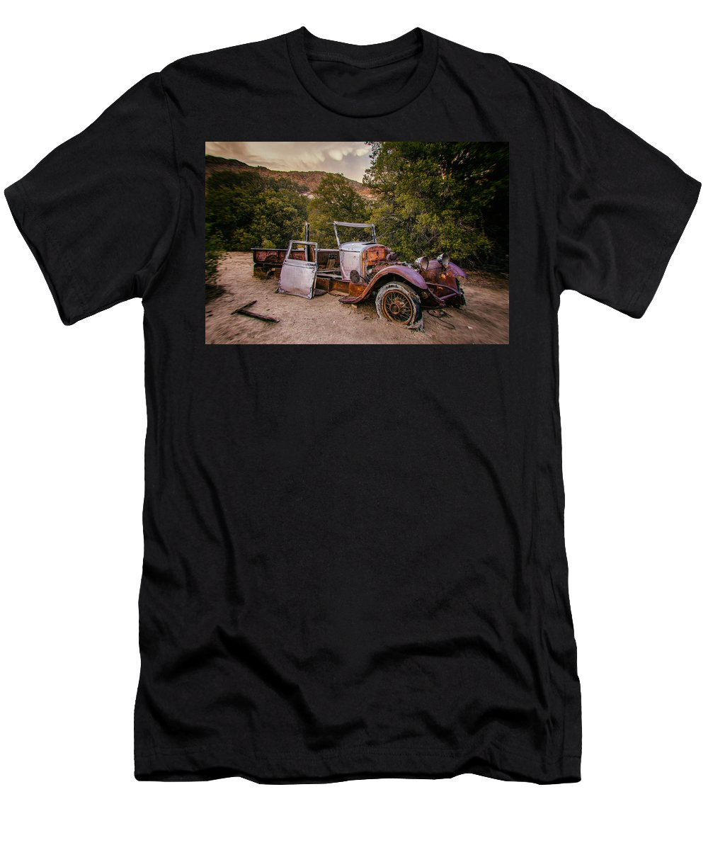 Abandoned Men's T-Shirt (Athletic Fit) featuring the photograph Wall Street Mine Pickup by Peter Tellone