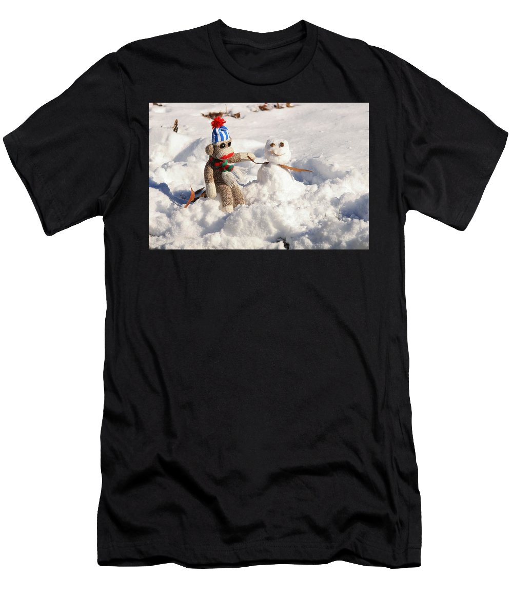 Wally Men's T-Shirt (Athletic Fit) featuring the photograph Wally's Winter Friend by Jennifer Wheatley Wolf