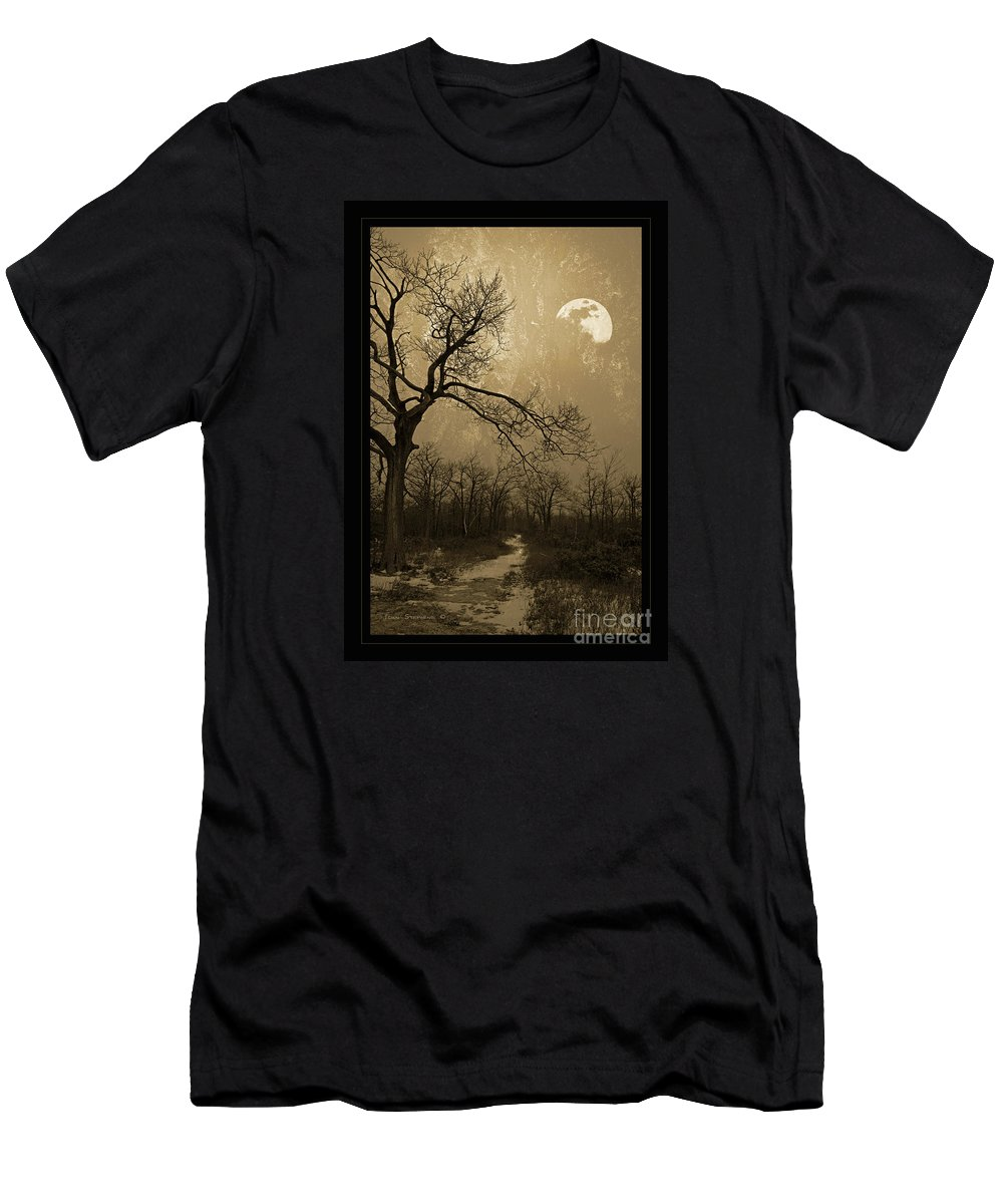 Twisted Men's T-Shirt (Athletic Fit) featuring the photograph Waning Winter Moon by John Stephens