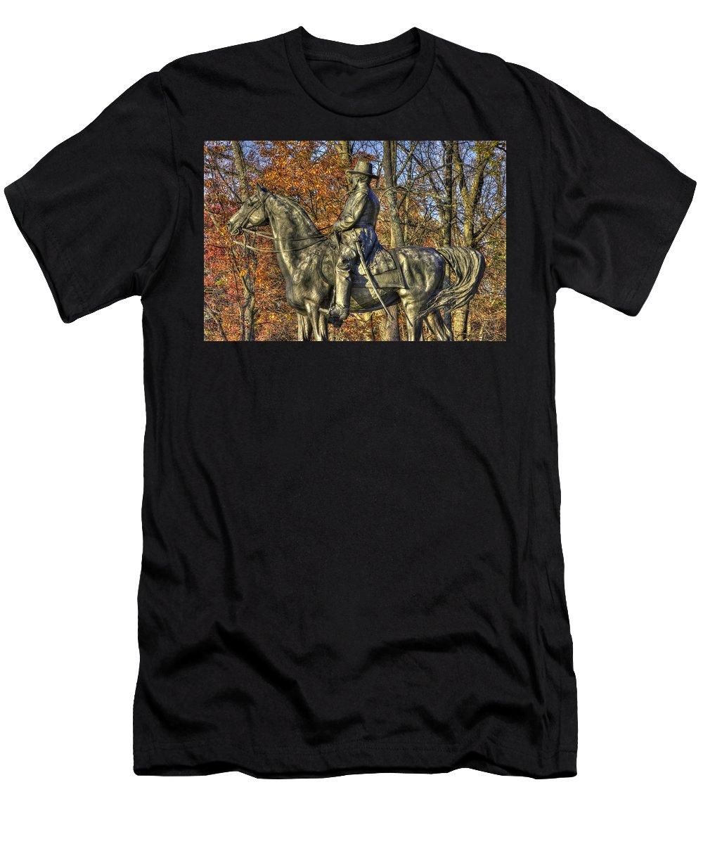 Civil War Men's T-Shirt (Athletic Fit) featuring the photograph War Horses - Major General John Sedgwick Commanding Sixth Corps Autumn Gettysburg by Michael Mazaika