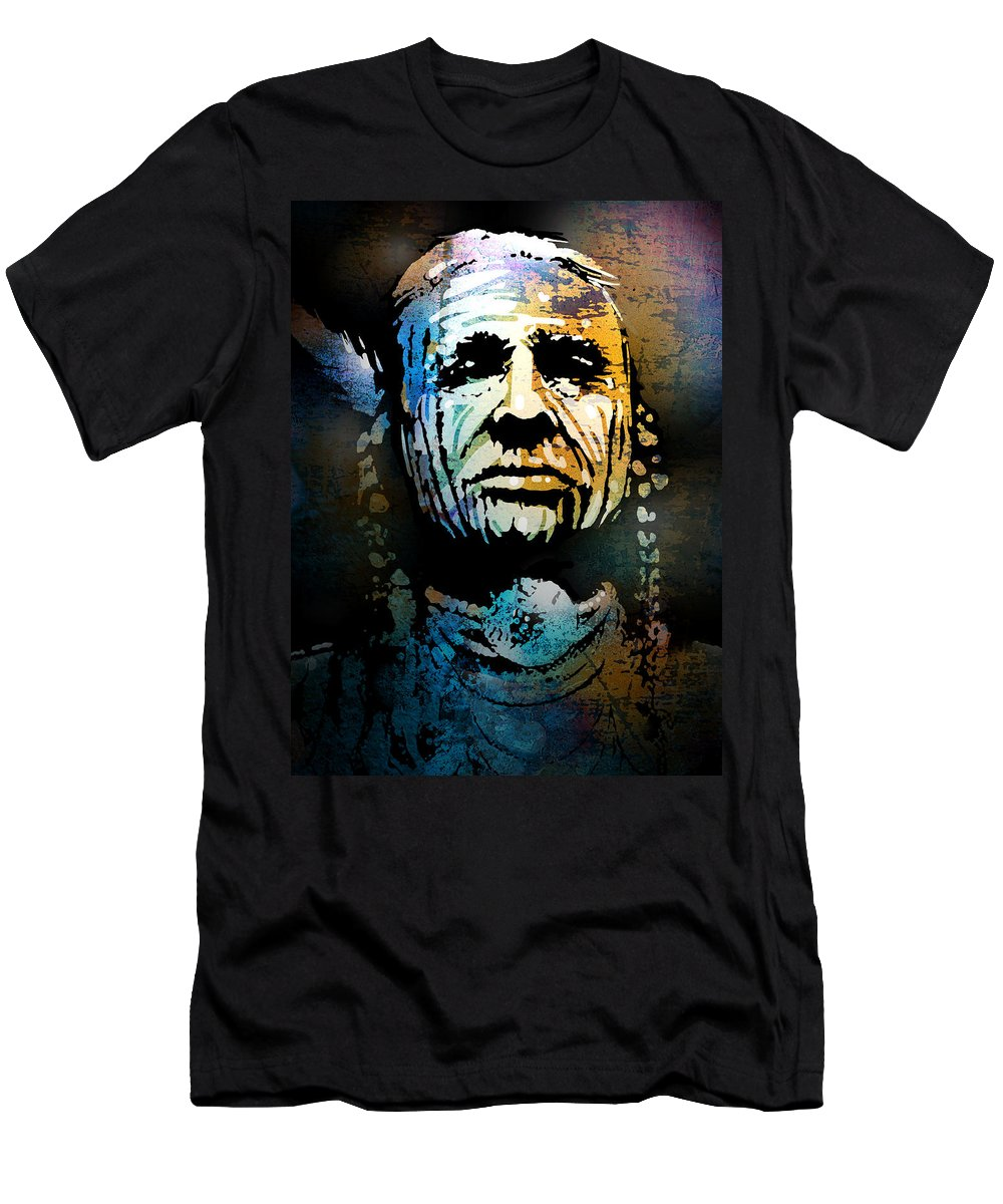 Native American Men's T-Shirt (Athletic Fit) featuring the painting War Paint Study by Paul Sachtleben