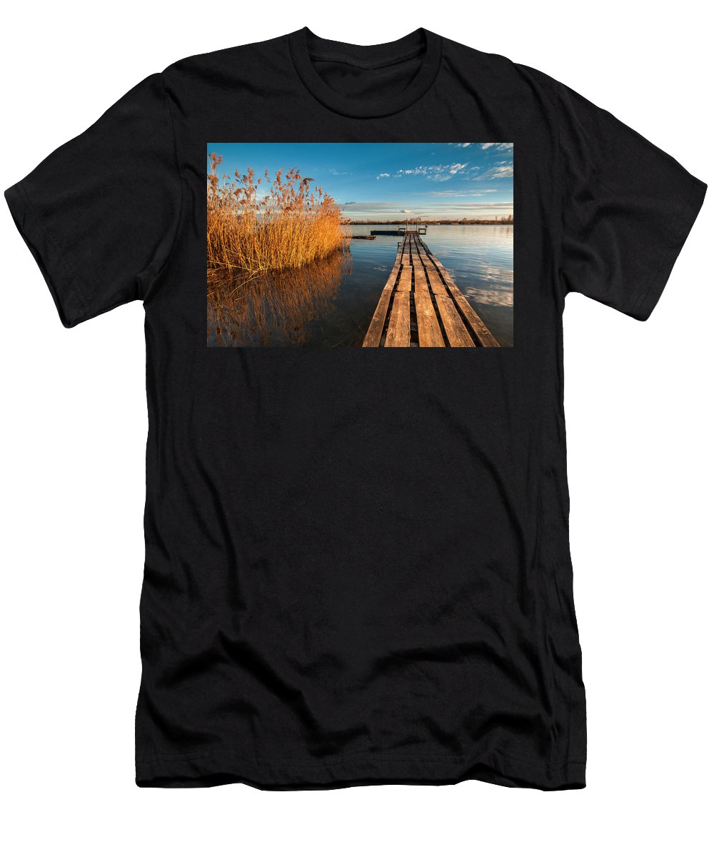 Landscapes Men's T-Shirt (Athletic Fit) featuring the photograph Warm Winter Afternoon by Davorin Mance