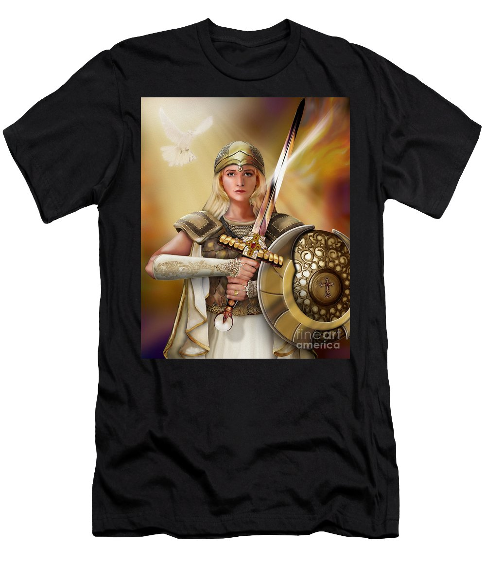Bride Of Christ Men's T-Shirt (Athletic Fit) featuring the painting Warrior Bride by Todd L Thomas