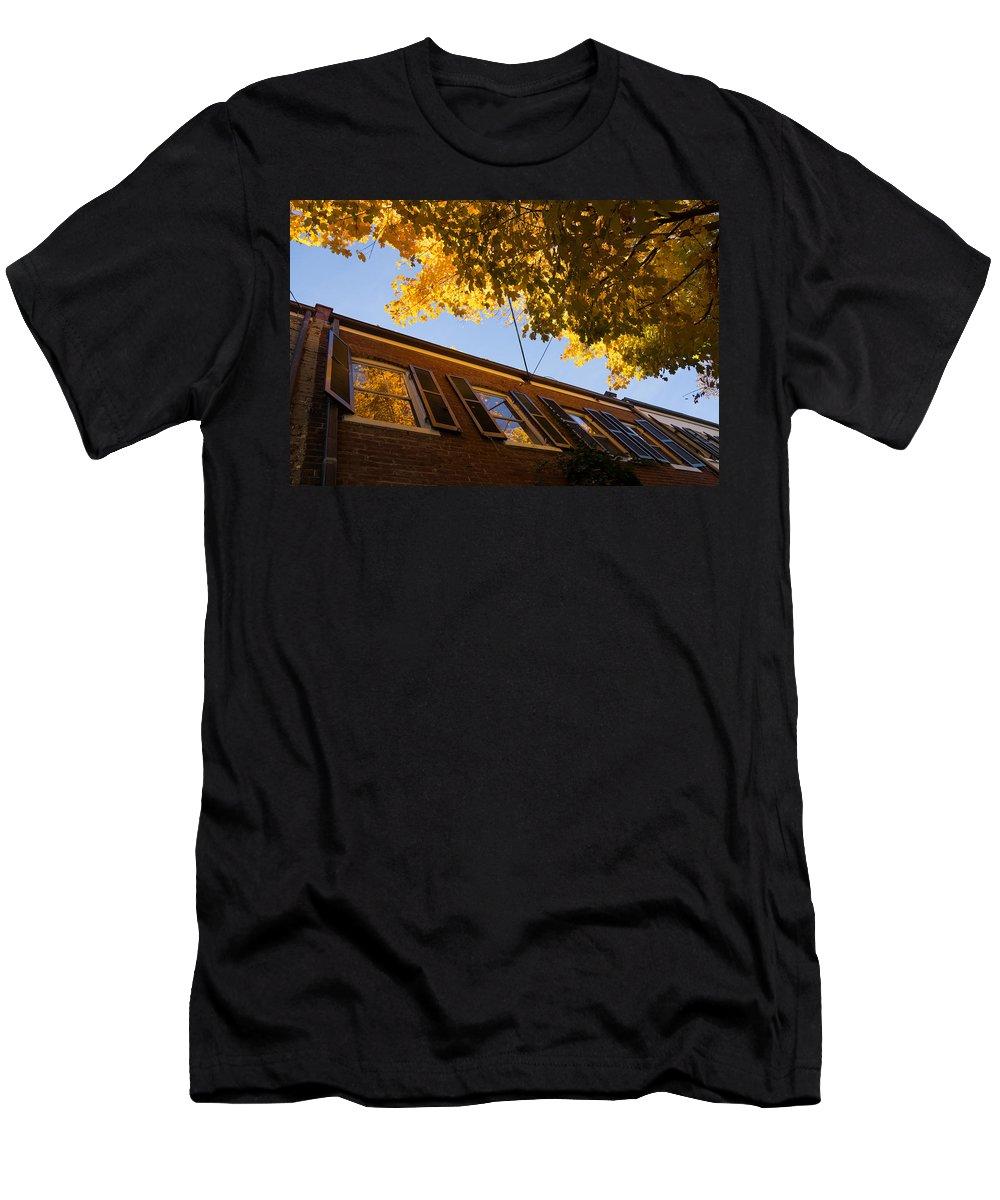 Washington Facades Men's T-Shirt (Athletic Fit) featuring the photograph Washington D C Facades - Reflecting On Autumn In Georgetown by Georgia Mizuleva