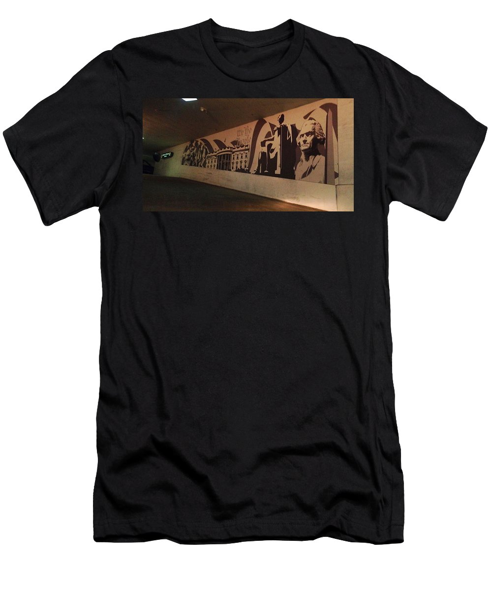 Mural Men's T-Shirt (Athletic Fit) featuring the photograph Washington Dc Grocery Store Mural by Lois Ivancin Tavaf