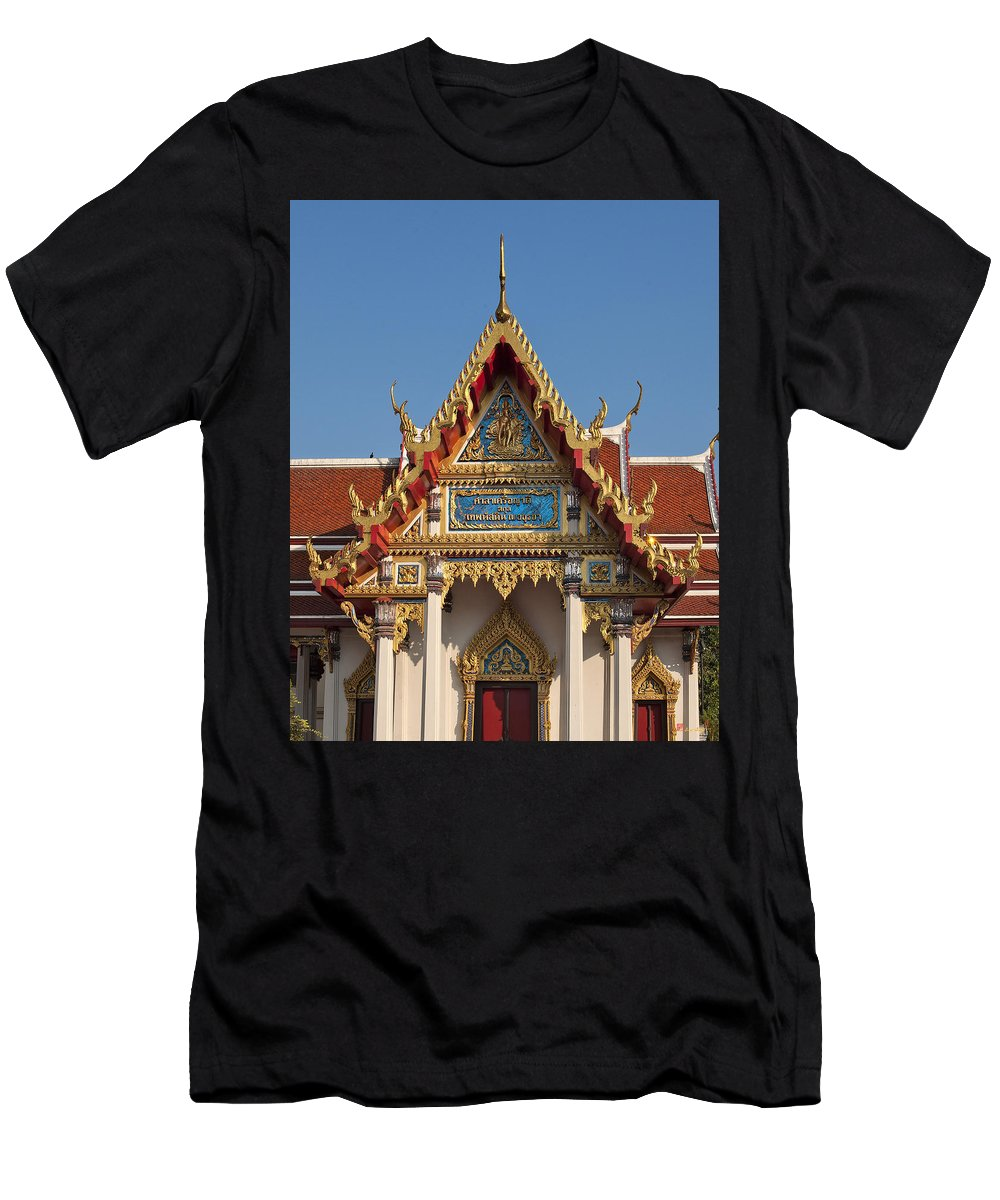 Bangkok Men's T-Shirt (Athletic Fit) featuring the photograph Wat Ratchaburana Ratchaworawiharn Family Hall Gable Dthb997 by Gerry Gantt