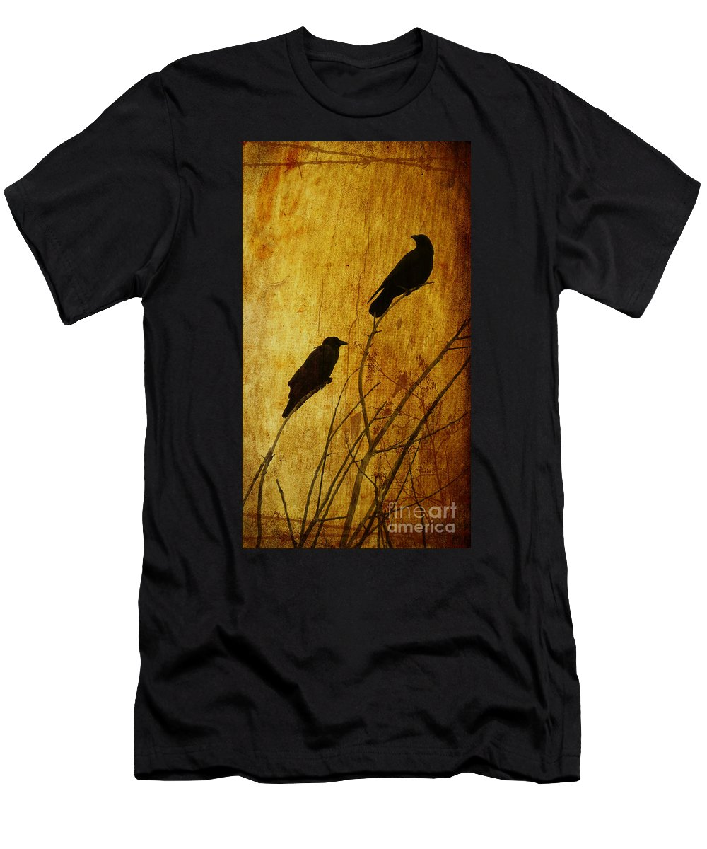 Crows Men's T-Shirt (Athletic Fit) featuring the photograph Watchers Of The East And West by Putterhug Studio