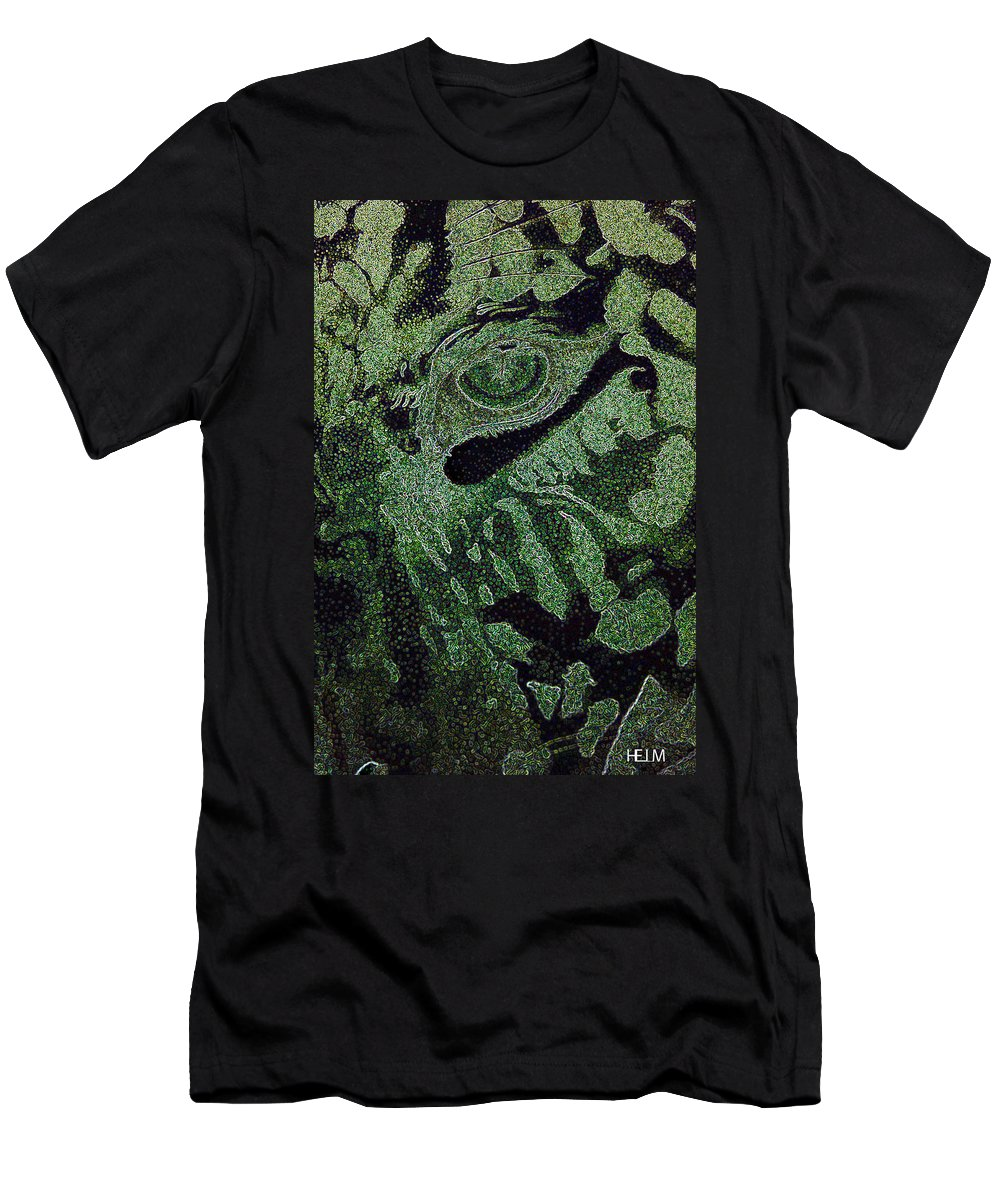 Leopard Paintings Drawings Men's T-Shirt (Athletic Fit) featuring the photograph Watching You by Mayhem Mediums
