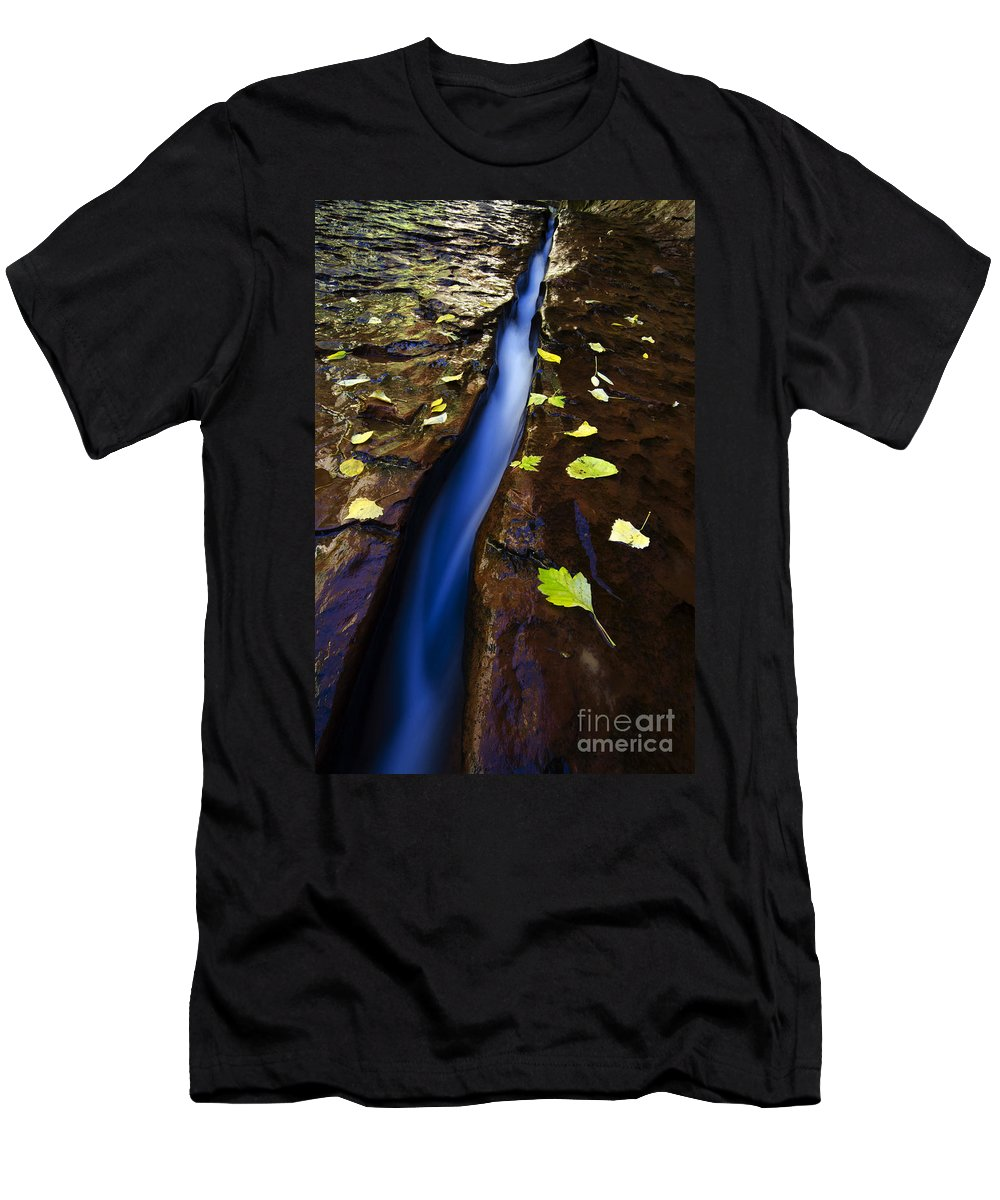 Subway Men's T-Shirt (Athletic Fit) featuring the photograph Water And Stone by Bob Christopher