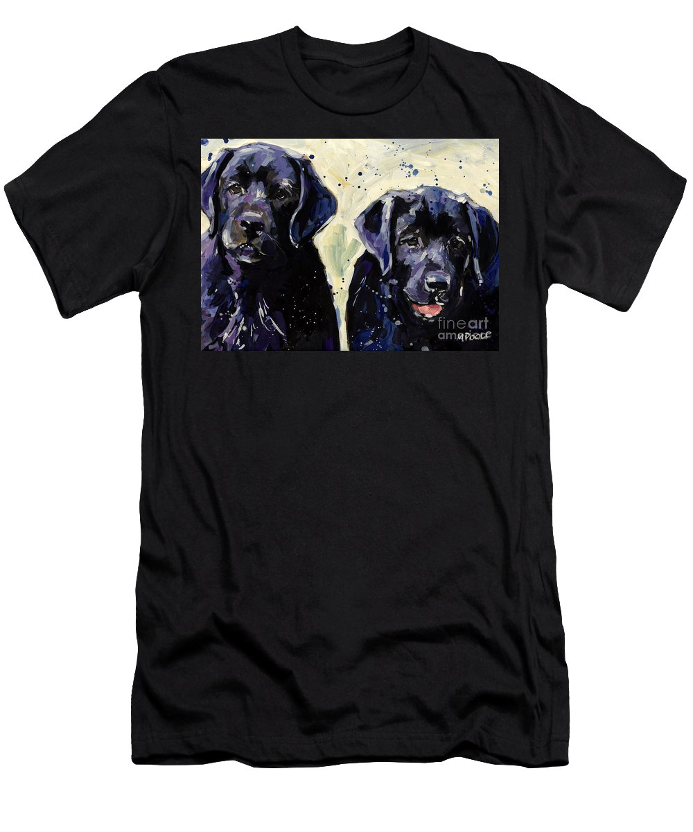 Labrador Retriever Puppies Men's T-Shirt (Athletic Fit) featuring the painting Water Boys by Molly Poole