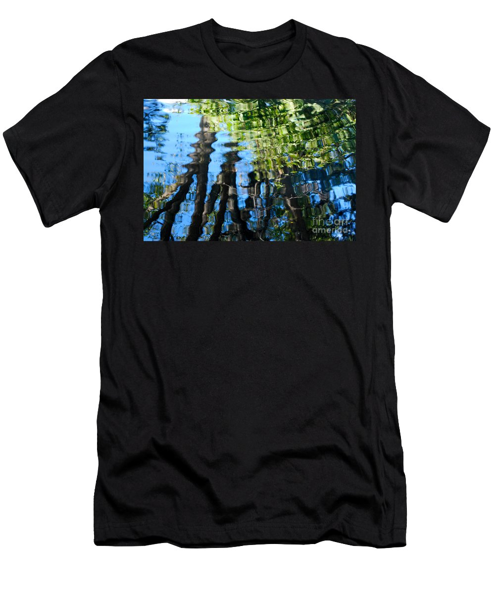 Pond Men's T-Shirt (Athletic Fit) featuring the photograph Water Reflections 1 by Nancy Mueller