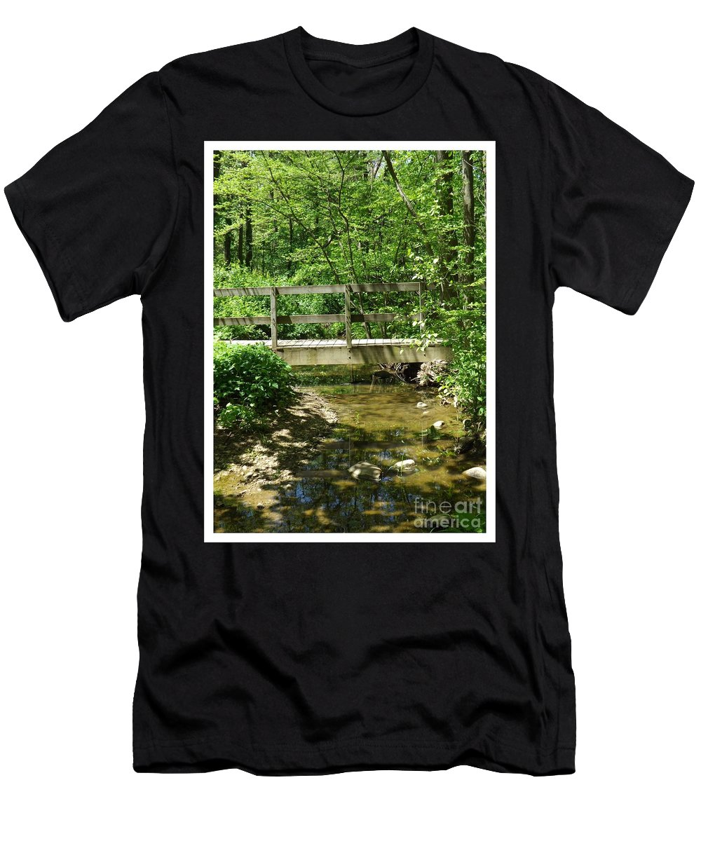 Bridge Men's T-Shirt (Athletic Fit) featuring the photograph Water Under The Bridge by Sara Raber