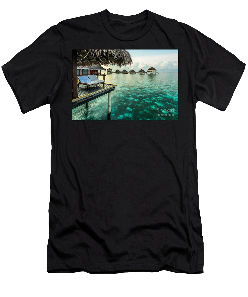 Water Bungalows Men's T-Shirt (Athletic Fit) featuring the photograph Waterbungolaws by Hannes Cmarits