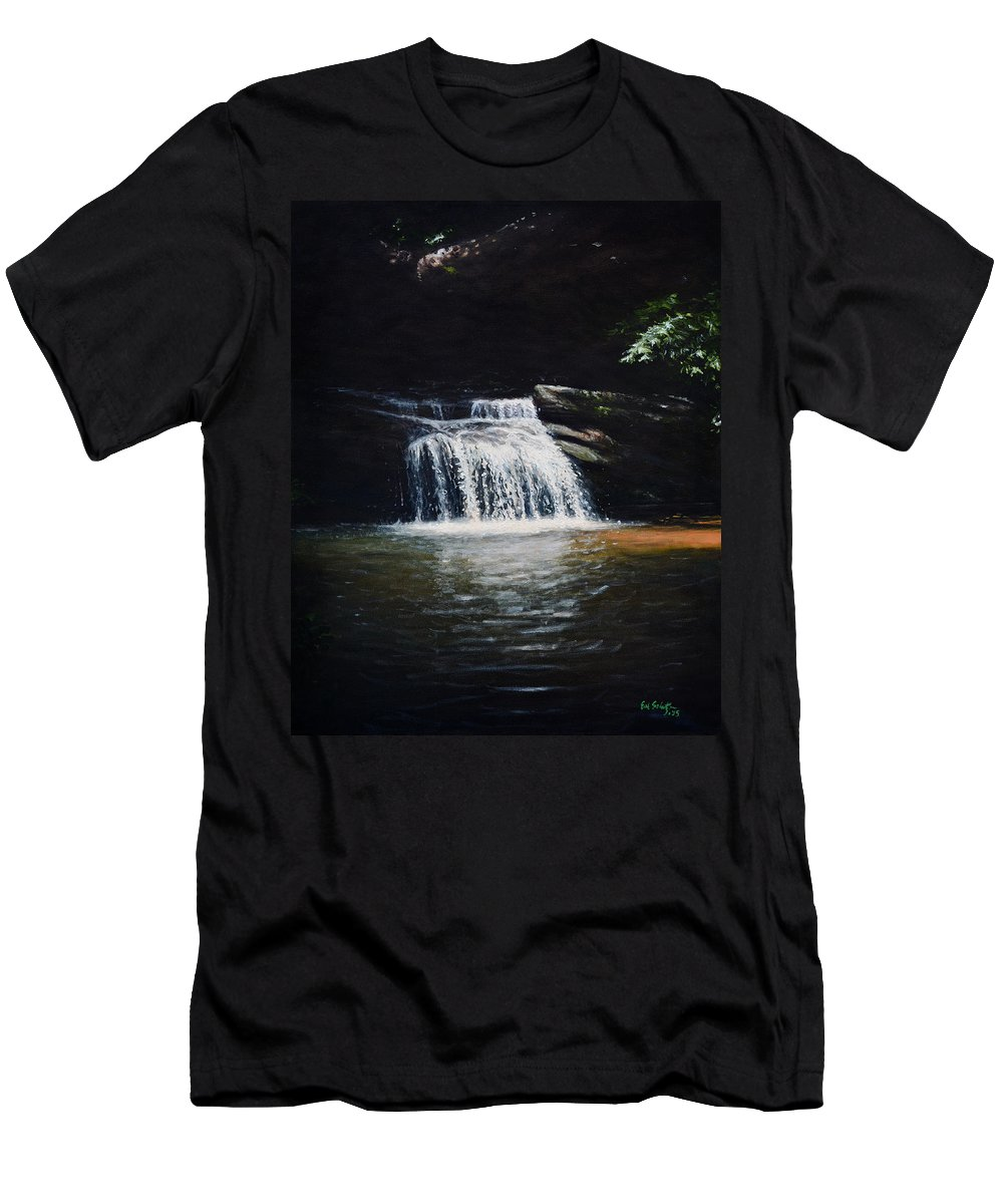 Landscape Men's T-Shirt (Athletic Fit) featuring the painting Waterfall At Table Rock National Forest by Erik Schutzman