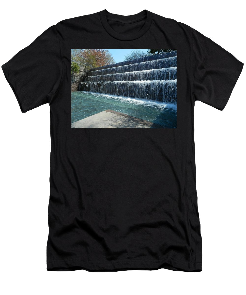 Waterfall Men's T-Shirt (Athletic Fit) featuring the photograph Waterfall Heaven by Emmy Vickers