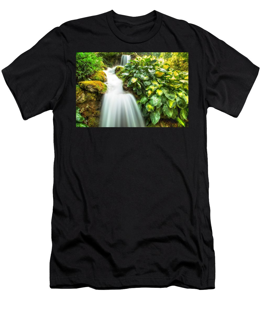 Flow Men's T-Shirt (Athletic Fit) featuring the photograph Waterfall In The Hosta by Eti Reid