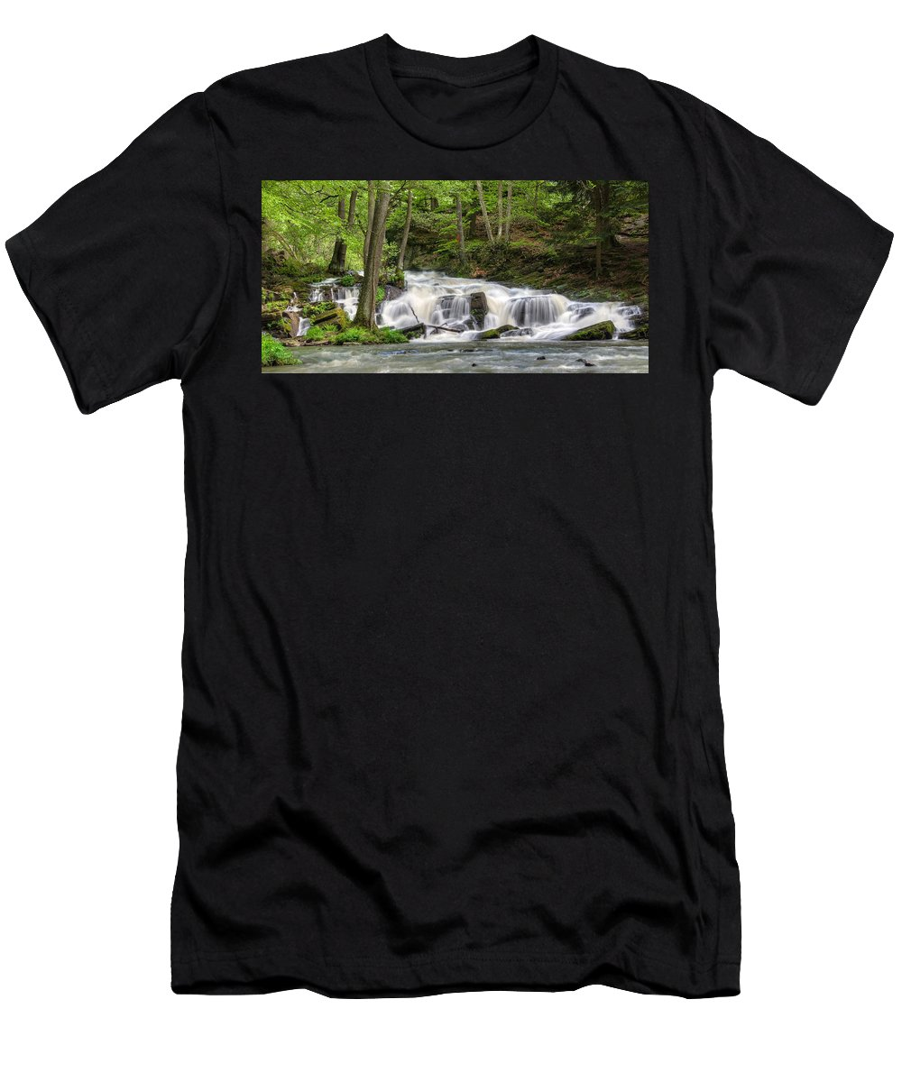 Hdr Men's T-Shirt (Athletic Fit) featuring the pyrography Waterfall by Steffen Gierok