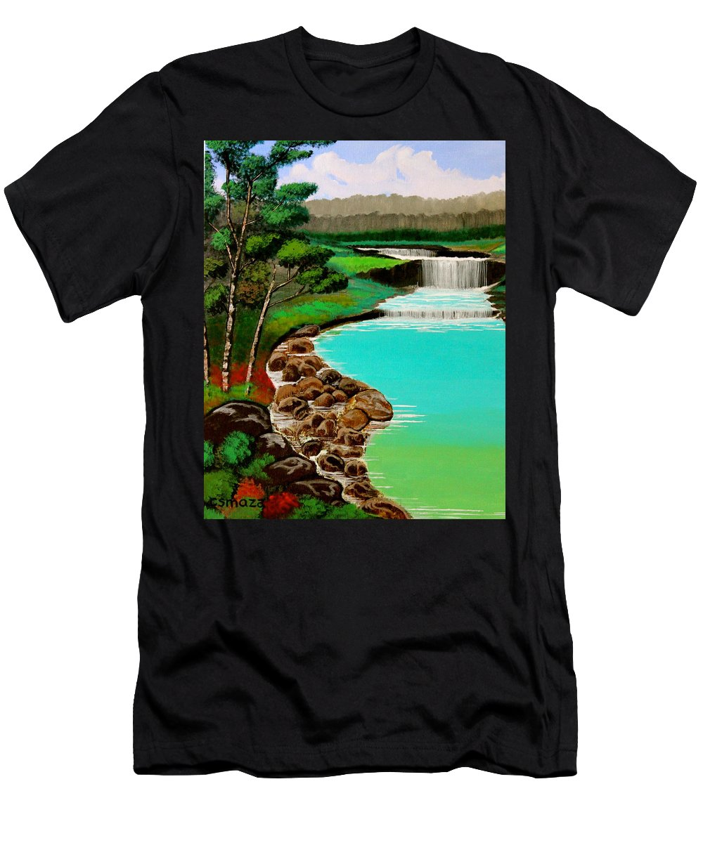 Waterfalls Men's T-Shirt (Athletic Fit) featuring the painting Waterfalls by Cyril Maza