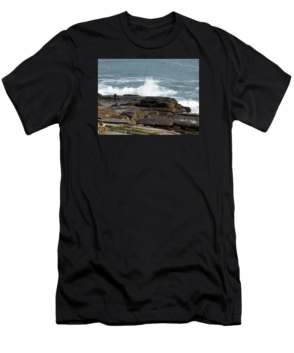 Cape Elizabeth Men's T-Shirt (Athletic Fit) featuring the photograph Wave Hitting Rock by Catherine Gagne