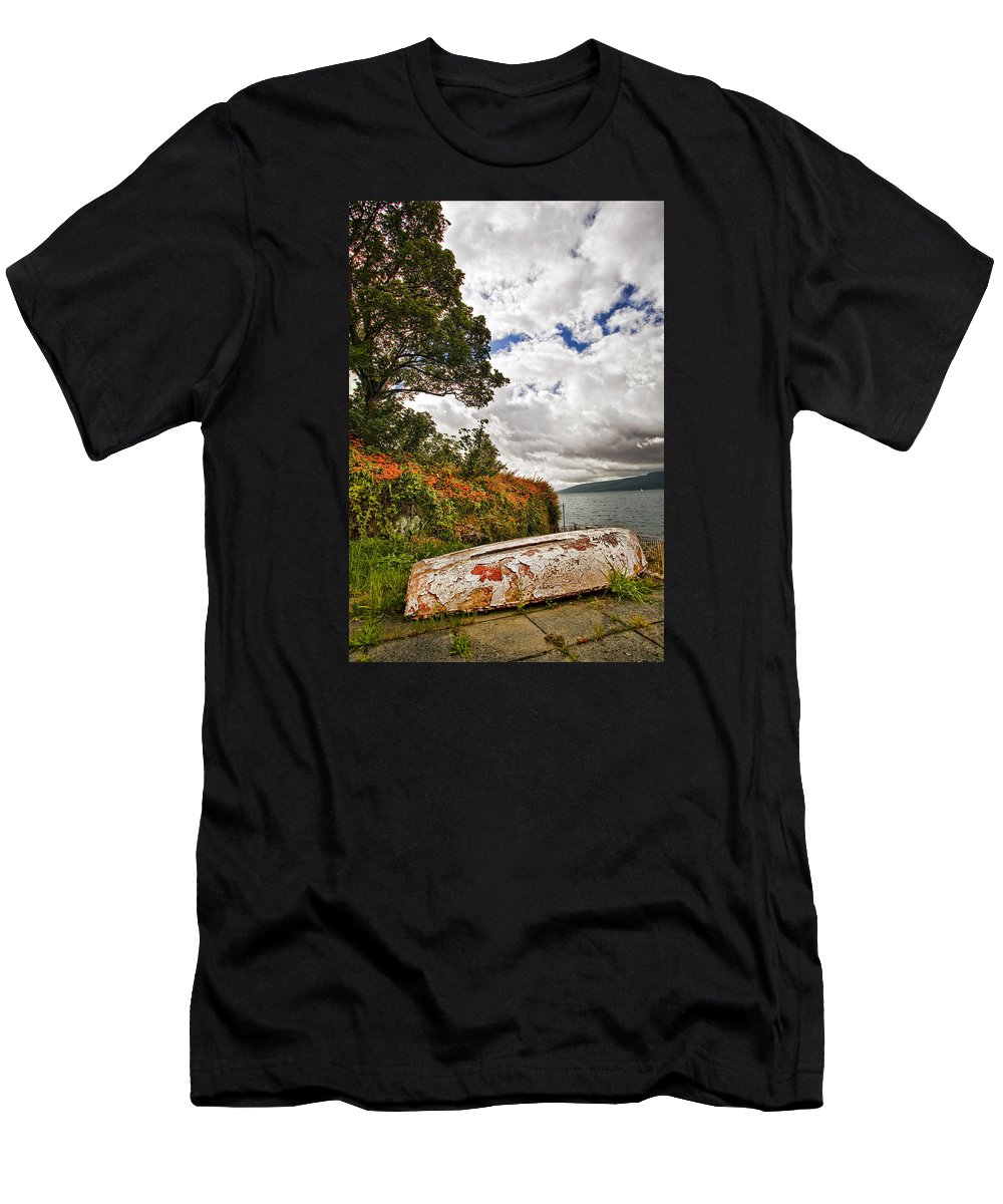 Transportation Men's T-Shirt (Athletic Fit) featuring the photograph Weathered Boat by Marcia Colelli