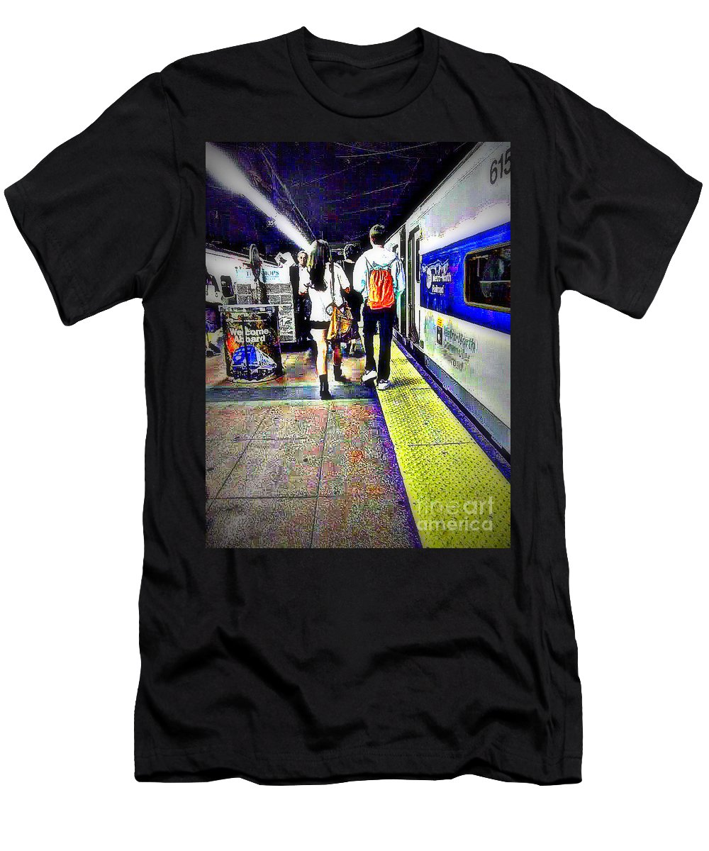 Grand Central Men's T-Shirt (Athletic Fit) featuring the photograph Welcome Aboard by Miriam Danar