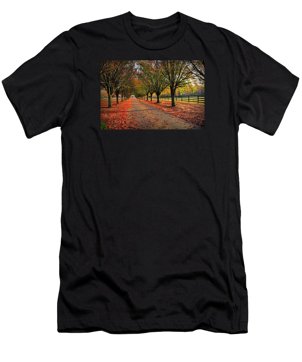 Reid Callaway Welcome Home Men's T-Shirt (Athletic Fit) featuring the photograph Welcome Home Bradford Pear Lined Drive-way by Reid Callaway