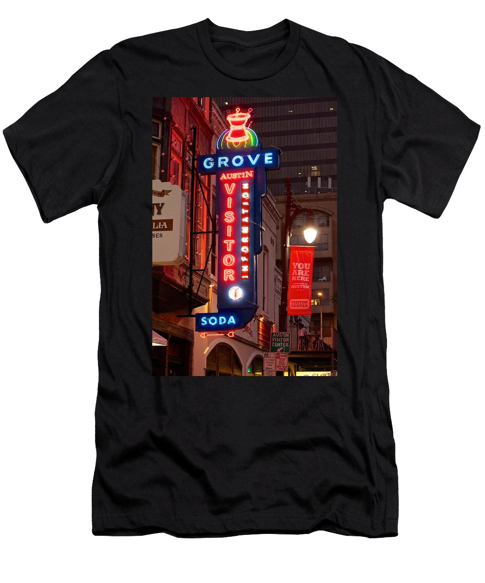 Austin Sign Art Men's T-Shirt (Athletic Fit) featuring the photograph Welcome To 6th Street by Kristina Deane
