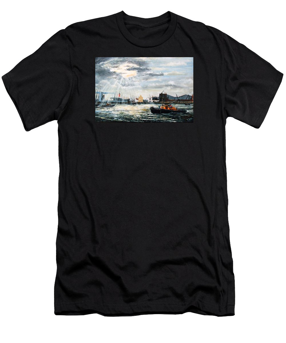 The Gun Men's T-Shirt (Athletic Fit) featuring the painting West India Dock Entrance And The Gun Public House by Mackenzie Moulton