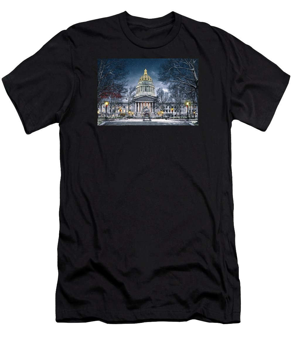 Wv Men's T-Shirt (Athletic Fit) featuring the photograph West Virginia State Capitol by Mary Almond